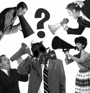 gas mask punto interrogativo megafoni