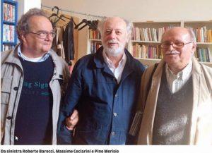 Merisio e Barocci di Sos Geotermia con l'avv. Ceciarini in conferenza stampa (foto Tirreno)