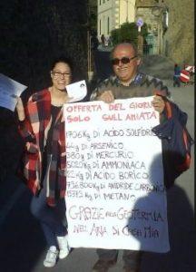 Pino Merisio durante una delle iniziative contro le centrali